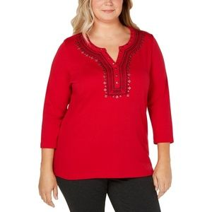 Women's Embellished Embroidered Pullover Top Shirt